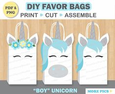 *****This Listing is for an INSTANT DOWNLOAD PDF File***** It includes printable templates to make your own BOY Unicorn Party favor Bags. These are perfect to hand out to the Boys at your Unicorn themed Party!! This way they dont feel bad getting a Pink Unicorn gift bag! (I know