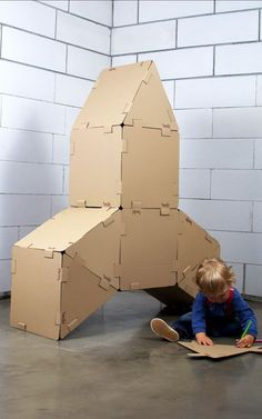 Cardboard Spacecraft by hock.pl: All the essentials for an intergalactic adventure. Made of recycled cardboard which can be painted, colored or embellished as desired.  #Toys #Cardboard #Rocket