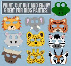 10 Safari Animal Mask Printables kid's safari masks