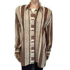 Vtg Spoza Button Down Shirt Womens Plus Size 18 Brown Striped Embellished Top Button Downs, Button Down Shirt, Embellished Top, Online Price, 18th, Vintage Outfits, Tunic, Blouses, Plus Size