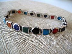 Sterling and Enamel Bracelet 925 Thailand Estate Jewelry