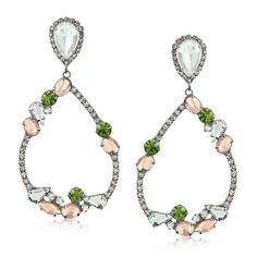 Brinco gota vazada com cristais rosas, verdes e brancos folheado em ródio negro - Francisca Joias