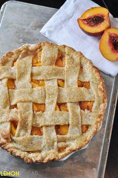 Fresh Peach Pie with Homemade Buttermilk Crust   www.lemon-sugar.com