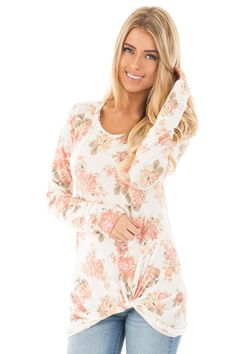 23ca919a04 Lime Lush Boutique - Ivory Floral Long Sleeve Twist Detail Top