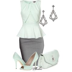 Super cute work outfit. Mint green peplum with gray pencil skirt, mint peep toe shoes and bag