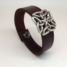 Men's Celtic brown leather cuff/bracelet by A9leatherdesign on Etsy