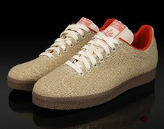 These Adidas Gazelle shoes are part of the Adidas Grun collection for Spring/Summer 2008. Adidas Grun is a line of footwear from Adidas that aims to better the environment by using environmentally-friendly materials in footwear design. Here are made with hemp and feature an insole made of cork.