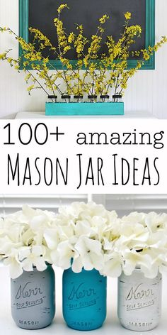 Mason Jar Crafts: tons of great mason jar crafts & ideas - (i have some mason jars in the garage just for something like this) Cute Crafts, Crafts To Do, Diy Crafts, Mason Jar Projects, Mason Jar Crafts, Do It Yourself Wedding, Do It Yourself Home, Diy Projects To Try, Craft Projects