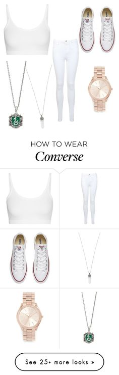 """""""white slytherin"""" by soundlessfob on Polyvore featuring Miss Selfridge, Marc Jacobs, Michael Kors, Converse and Helmut Lang"""
