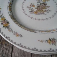 Fine China Dinner Plate by Royal Doulton, Hamilton Pattern, Made in England Yellow and Pink Flowers TC 1090 Country Cottage Style Tableware by LostTreasurebyLynn on Etsy