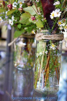 I Gotta Create!: Gorgeous Glass, Burlap and..Weeds?