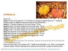 Citrouille Halloween Crochet Diagram, Free Crochet, Crochet Patterns, Fruits En Crochet, Crochet Amigurumi, Blog, Appliques, Vegetables, Google