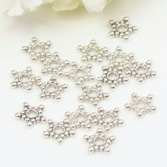 8.8mm Antique Silver Bead Spacers, Tibetan Style Bead Spacers, Star Bead…