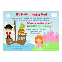 Princess and Pirate Joint Birthday Party Invite