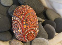 "Handmade, Handcrafted, Painted Rock Stone, Rock Art, Stone Art, Sea Stone, ""Fire Storm"""