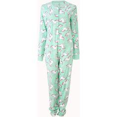Forever 21 Women's  Unicorn Dreams PJ Onesie (290 EGP) ❤ liked on Polyvore featuring intimates, sleepwear, pajamas, pyjamas, forever 21, long sleeve pyjamas, long sleeve pajamas, forever 21 sleepwear and unicorn pajamas