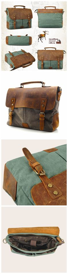 Handmade Canvas Leather Bag Briefcase Messenger Bag Shoulder Bag Laptop Bag