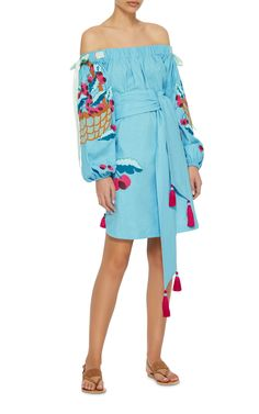 Embroidered Linen Dress by Yuliya Magdych | Moda Operandi