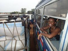 Zinzi and Aminah crossing the river Gambia in October 2016 (Photo from passenger Lisa Vitaris) Overland Truck, West Africa, Lisa, October, River, Rivers