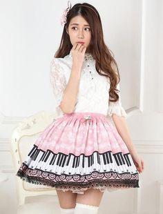 Description Size & Fit Tailoring & Handling Time: 8 Days Occasion: Tea Party Sleeve Length: Sleeveless Components: Skirt Size XS S M L XL XXL Waist(cm) 64 70 74 78 86 92 Length(cm) Style Lolita, Gothic Lolita Dress, Vintage Logo Design, Vintage Branding, Kawaii Fashion, Lolita Fashion, Pink Piano, Style Kawaii, Winter Dresses