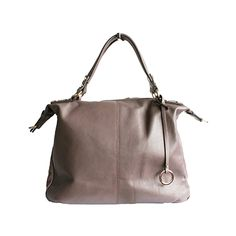 Sandy Italian Taupe Leather Satchel Handbag - £64.99