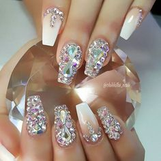Dazzle nails! The little gems aren't normally my thing, but these are very pretty | follow @sophieeleana