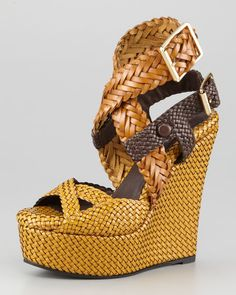 Burberry Woven Sandal  $1,495.00, Price is ridiculous, but the wedge is cute!