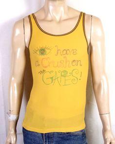 c8401a60ebb vtg 70s Hombres Yellow Brown Trim Stretchy Nylon Tank Top T-Shirt The  Gapes! L