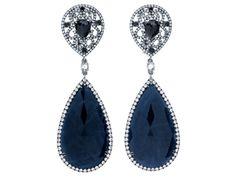 Fancy Sapphire and Black Diamond Earrings by SAMIRA®