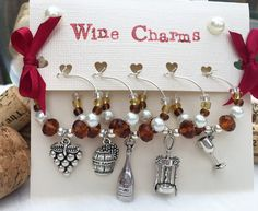 Wine Charms Brown Wine Glass Charms Set of 5 by LasmasCreations