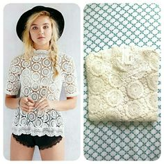 HP | Urban Outfitters | New Crochet Lace Top Unique crochet lace top, with a high neck and half sleeves. Zip at the back. New without tags. Brand is Cooperative from UO.  No trades. Urban Outfitters Tops