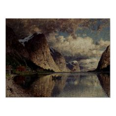 Adelsteen Normann A Cloudy Day On A Fjord - Leeds Art gallery Cool Landscapes, Landscape Paintings, Oil Paintings, Oslo, Leeds Art Gallery, Art Sur Toile, Oil Painting Gallery, 1. Mai, Reproduction