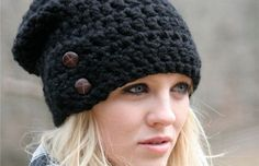 Slouchy Beanie Hat With Two Buttons Chunky Crochet Hat / The Dartmoor / Slouchy Hat Beanie Black Chunky Crochet Hat, Crochet Winter Hats, Crochet Beanie, Hand Crochet, Knitted Hats, Knit Crochet, Crochet Hats, Slouchy Beanie, Beanie Hats