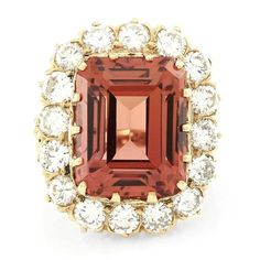 Precious 20.36 Carat Sherry Topaz Diamond Halo Gold Ring For Sale at 1stdibs