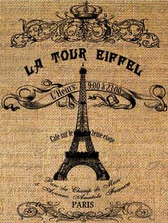 Le Tour Eiffel Tower Text Typography Words Digital Image Download Transfer For Pillows Totes Tea Towels Burlap No. 1693. $1.00, via Etsy.