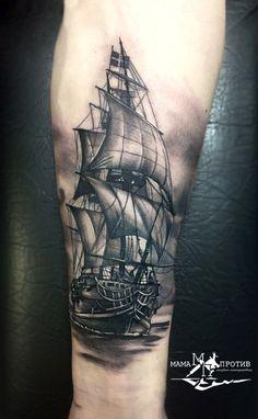 Boats tattoo for guys 61 Ideas Sea Tattoo Sleeve, Ship Tattoo Sleeves, Nautical Tattoo Sleeve, Leg Tattoo Men, Arm Tattoo, Sleeve Tattoos, Nautical Tattoos, Tattoo Ship, Tattoos 3d