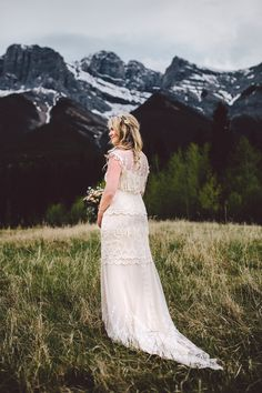 Canadian Mountain Wedding - Amanda in Claire Pettibone via The Dress Theory (bridal shop in Seattle)