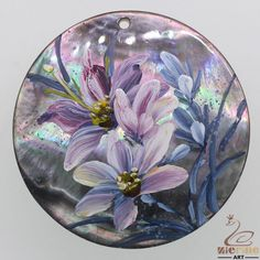 Fashion Jewelry  Hand Painted Flower Natural Black Lip Shell Pendant ZL300895 #ZL #Pendant
