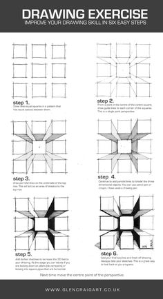 Six step technique to draw a single point perspective from squares. Increase your drawing skills and use it as a warm up, prior to presentation drawings or as just a relaxing doodle type. Drawing Practice, Drawing Skills, Drawing Techniques, Drawing Tips, Perspective Drawing Lessons, Perspective Sketch, Point Perspective, Art Drawings Sketches, Easy Drawings
