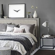White and grey bedding ideas grey bedroom ideas cosy bedroom ideas for a restful retreat yellow . white and grey bedding ideas Dark Gray Bedroom, Grey Bedroom With Pop Of Color, Grey Bedroom Design, Grey Bedroom Decor, Grey Bedroom Furniture, Grey Room, Trendy Bedroom, Bedroom Themes, Modern Bedroom