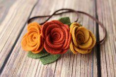 Fall felt flower headband - baby, toddler girls headband - Fall headband - Felt…