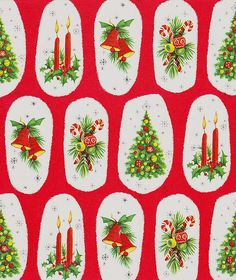 Vintage Christmas Wrapping Paper ~ Bells, Candy Canes, Tree, Candles