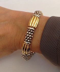 LAGOS SIGNATURE CAVIAR BEADED STERLING SILVER & 18k GOLD FLUTED 9mm BRACELET #Lagos #Beaded