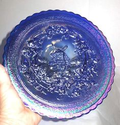 Carnival Glass - Imperial - Windmill - Cobalt Blue Carnival Plate 9 1/2""