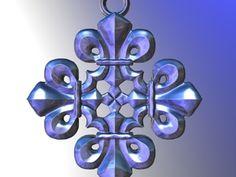 Fleur De Lis Pendant in Polished Silver