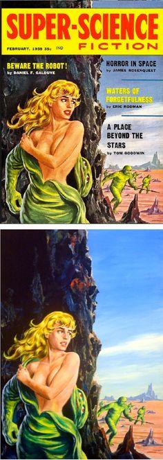 Super-Science Fiction - February in Glynn Crain's Ed Emshwiller Comic Art Gallery Room Pulp Fiction Art, Science Fiction Art, Pulp Art, Fiction Books, Fiction Movies, Massachusetts, Pulp Magazine, Magazine Art, Sci Fi Comics