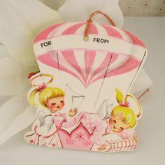 6 PINK Angel TAGS Hot Air Balloon Vintage Christmas Gift