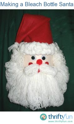 This is a guide about making a bleach bottle Santa. Clean plastic bleach and detergent bottles are great to use in craft projects. Make this cute Santa for the holidays.
