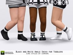 simromi's Black and White Ankle Socks for Toddlers