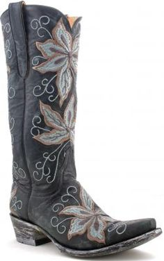 Cowboy Boots ... Womens Old Gringo Gemma Boots Black And Grey